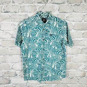 Volcom Button Front Shirt Zeebro Print Teal Large